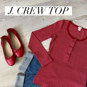 J.CREW Red & White Striped Long Sleeve Top Size XS